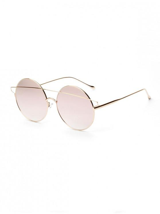 Breves gafas de sol redondas con barra de metal - Rosa Claro