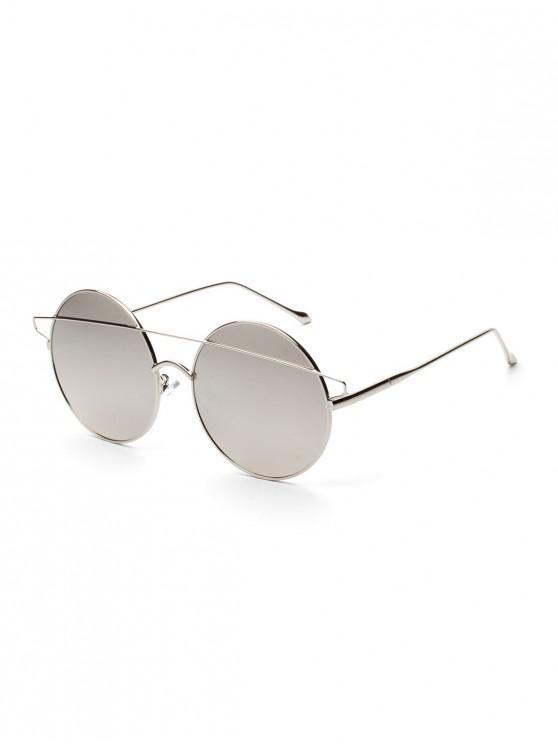 Breves gafas de sol redondas con barra de metal - Blanco