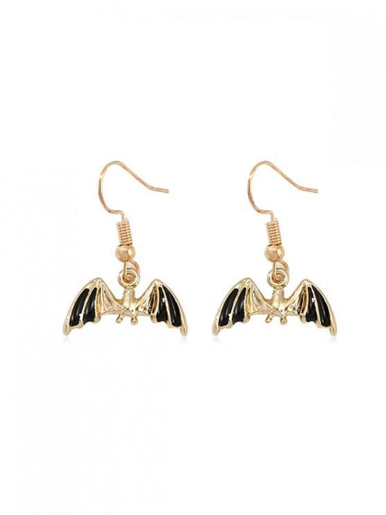 unique Halloween Glazed Bat Drop Earrings - GOLD