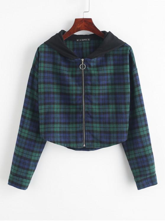 ZAFUL Клетчатый принт Короткая Куртка С капюшоном - Многоцветный-Б XL