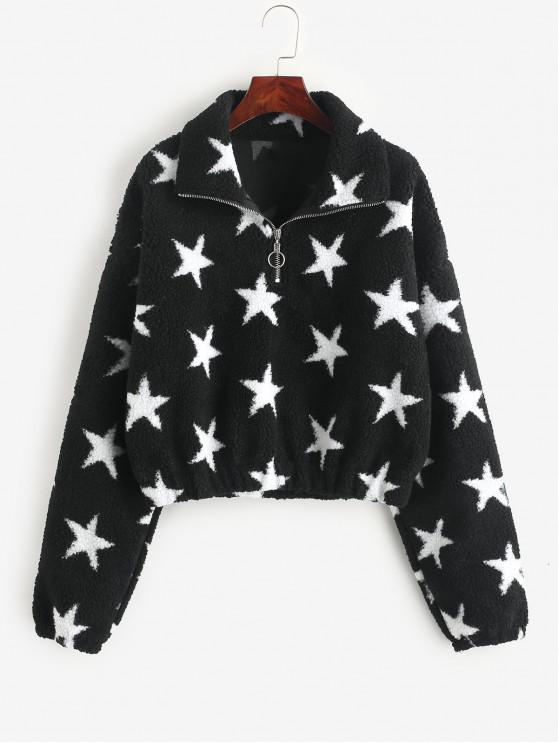 hot Star Graphic Half Zip Faux Fur Sweatshirt - BLACK M