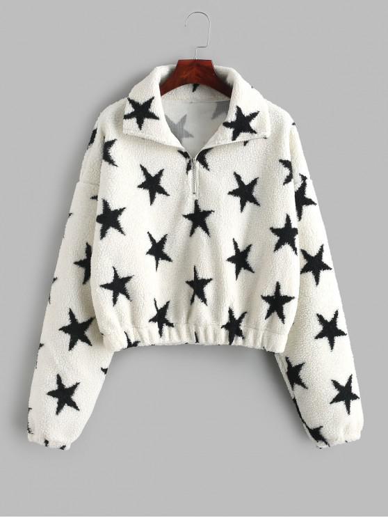 Sweatshirt Etoile Graphique à Demi-Zip en Fausse Fourrure - Blanc L