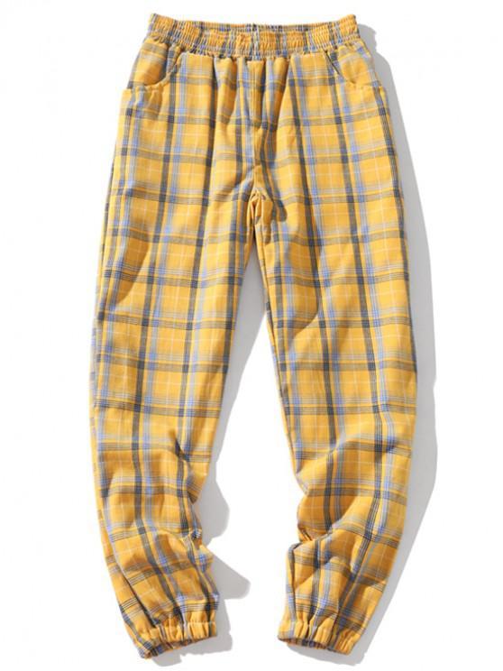 Плед мульти-карман эластичные повседневные брюки Jogger - Жёлтый M