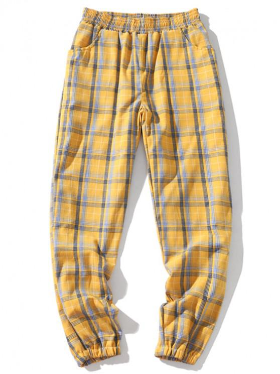 Pantalones de chándal casuales elásticos a cuadros con múltiples bolsillos - Amarillo 2XL