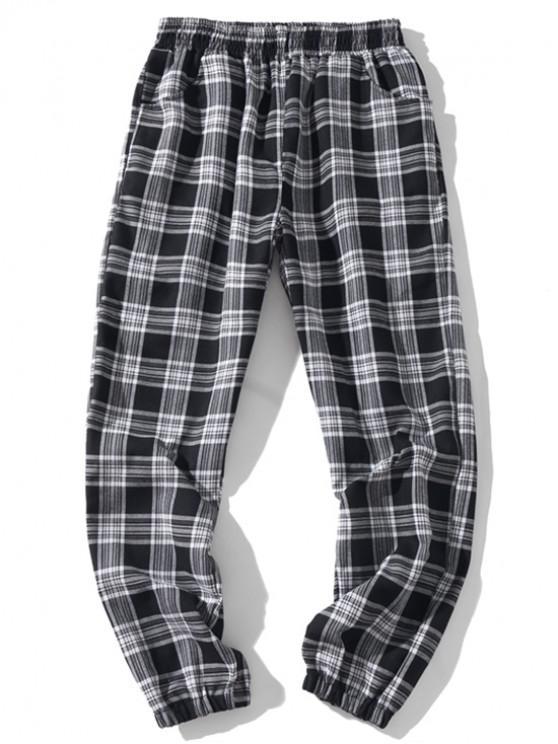 Pantalones de chándal casuales elásticos a cuadros con múltiples bolsillos - Negro XL