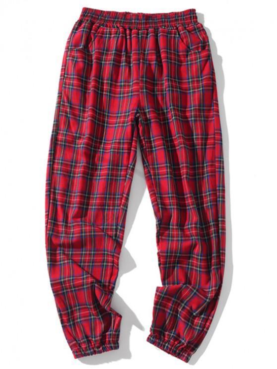 Pantalones de chándal casuales elásticos a cuadros con múltiples bolsillos - Castaño Rojo L