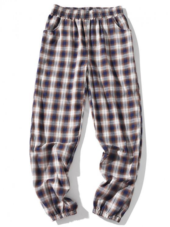 Pantalones de chándal casuales elásticos a cuadros con múltiples bolsillos - Caqui Oscuro XL