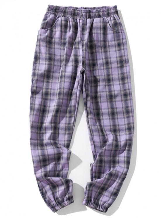 Pantalones de chándal casuales elásticos a cuadros con múltiples bolsillos - Púrpura Mediana M