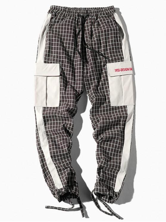 Pantalones jogger con diseño de cuadros a cuadros de bolsillo - Madera M
