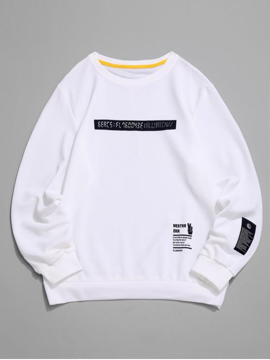 Applique-Sweatshirt mit Rundhalsausschnitt und Grafikdruck - Weiß M
