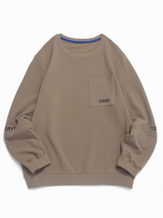 outfit Letter Print Chest Pocket Casual Pullover Sweatshirt - LIGHT KHAKI XS
