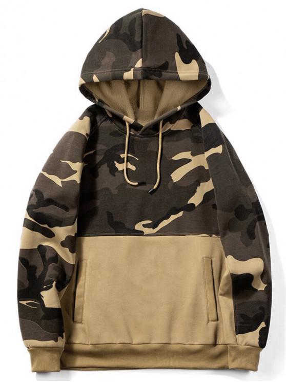 buy Camouflage Print Colorblock Splicing Fleece Hoodie - BROWN SUGAR XL
