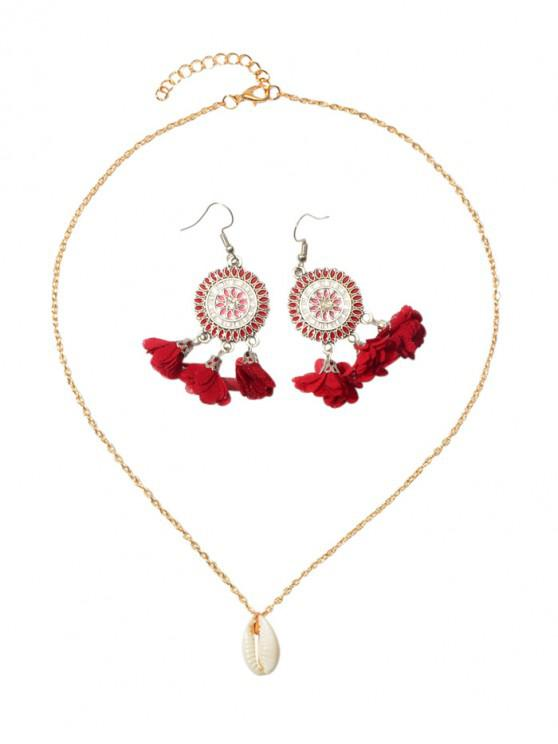 sale Flower Tassel Earrings Shell Necklace Set - LAVA RED