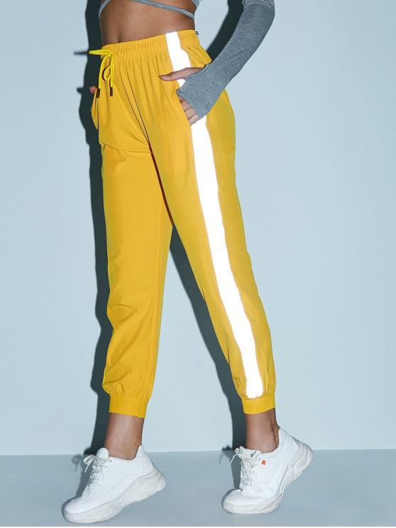Pantalones de chándal de bolsillo con cordón lateral reflectante - Amarillo Brillante M