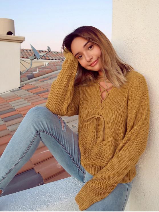 ZAFUL x Alexis Ricecakes suéter con cuello en V con hombros descubiertos y cuello en V - Caramelo L