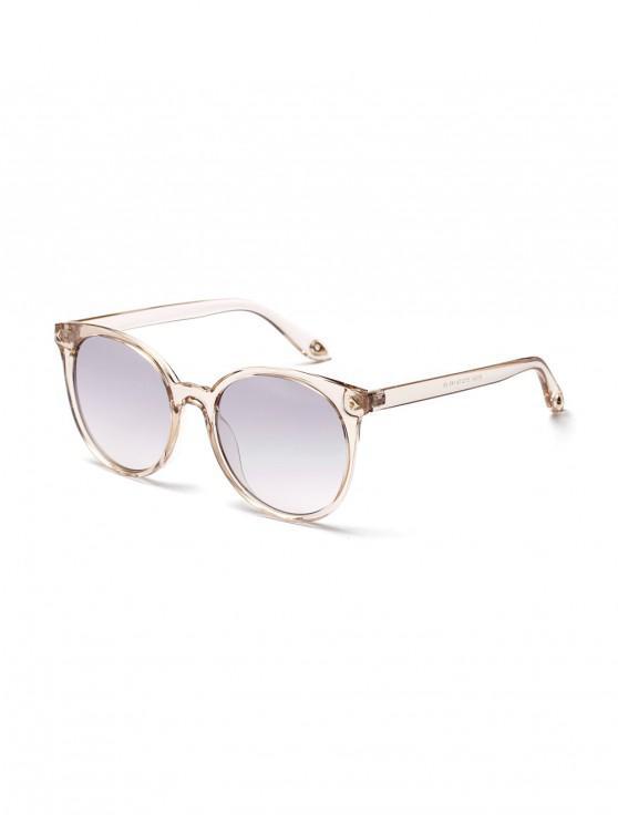 fashion Retro Round Transparent Rim Sunglasses - WHITE