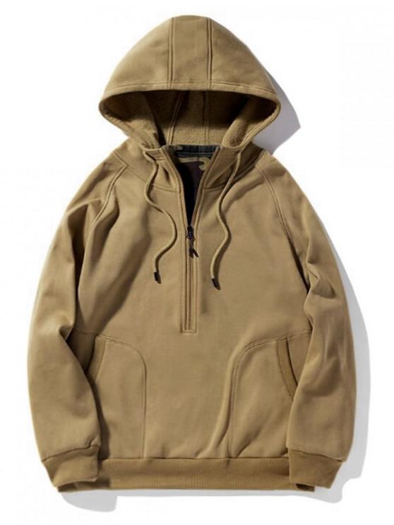 Половинная молния Рукав реглан Шерсть Пуловер Одноцветная Толстовка - Тигр-оранжевый XL