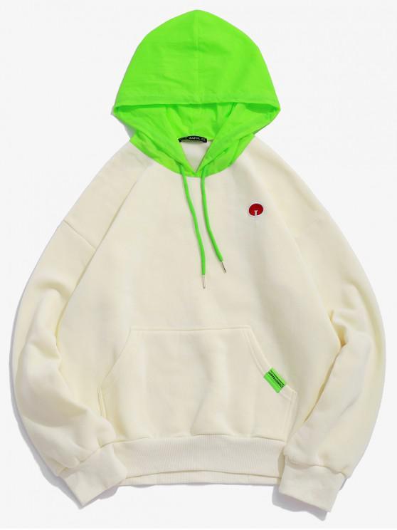 latest Embroidery Fleece Kangaroo Pocket Pullover Colorblock Hoodie - APRICOT L