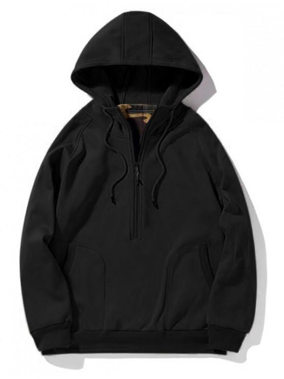 chic Solid Half Zipper Raglan Sleeve Fleece Pullover Hoodie - BLACK M