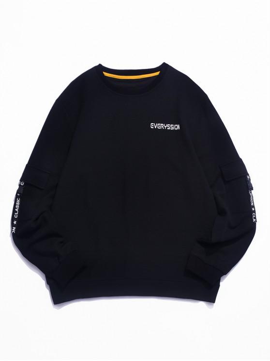 online Letter Print Buckle Ribbon Flap Pocket Sweatshirt - BLACK S