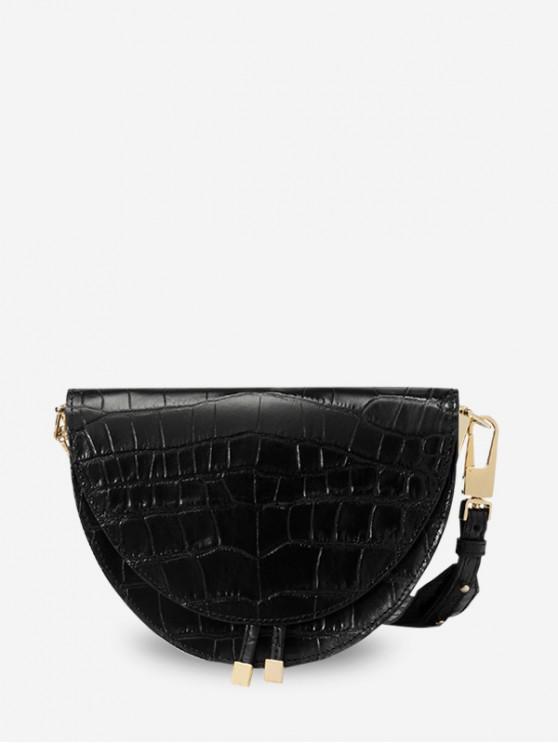 chic Semicircle Shape Small Shoulder Bag - BLACK