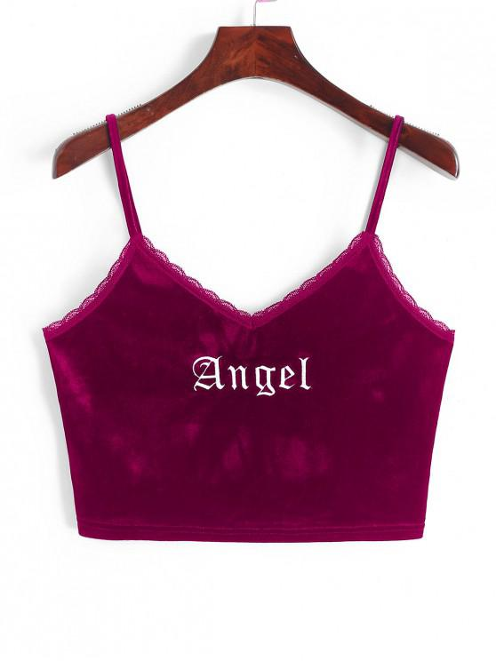 fashion ZAFUL Angel Embroidery Lace Trim Velvet Top - RED WINE M