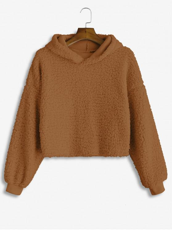affordable Drop Shoulder Fluffy Boxy Hoodie - LIGHT BROWN L