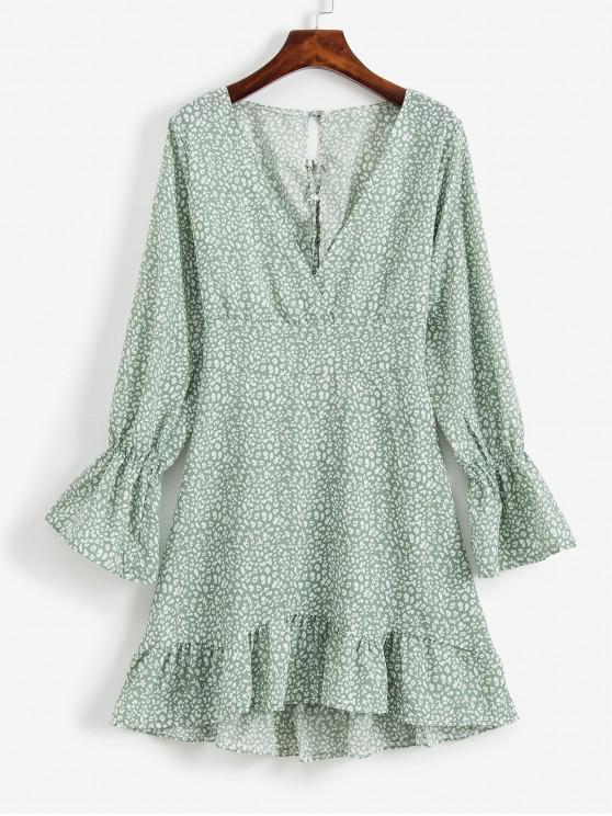 buy Flounced Hem Printed Lace Up Back Mini Dress - CYAN OPAQUE XL
