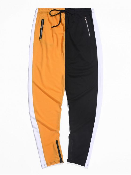 hot Color-blocking Spliced Zip-hem Sport Drawstring Pants - ORANGE XS