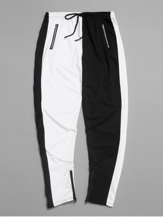 shops Color-blocking Spliced Zip-hem Sport Drawstring Pants - WHITE S