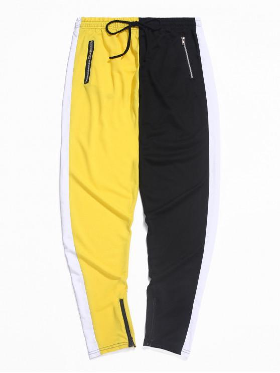 shop Color-blocking Spliced Zip-hem Sport Drawstring Pants - YELLOW M