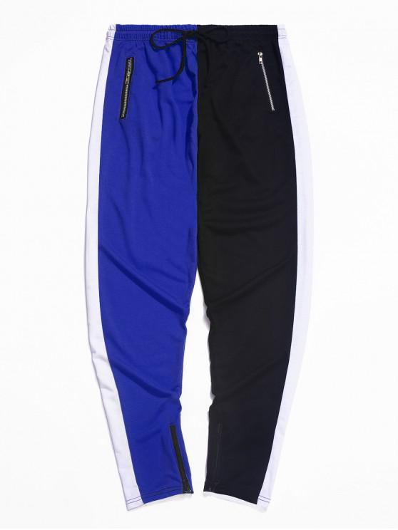 Pantalones deportivos con cordón de cremallera y dobladillo con bloqueo de color - Azul M