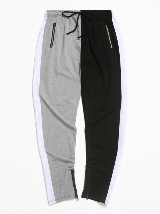 Pantalones deportivos con cordón de cremallera y dobladillo con bloqueo de color - Gris XS