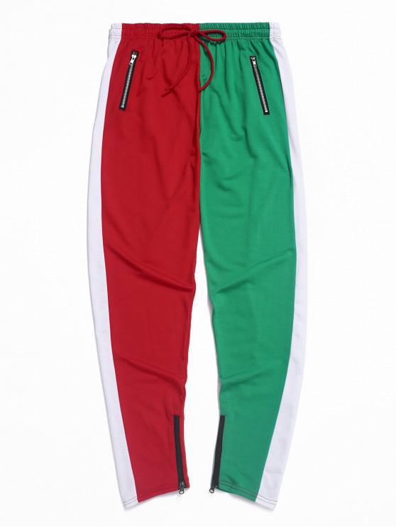 unique Color-blocking Spliced Zip-hem Sport Drawstring Pants - GREEN S