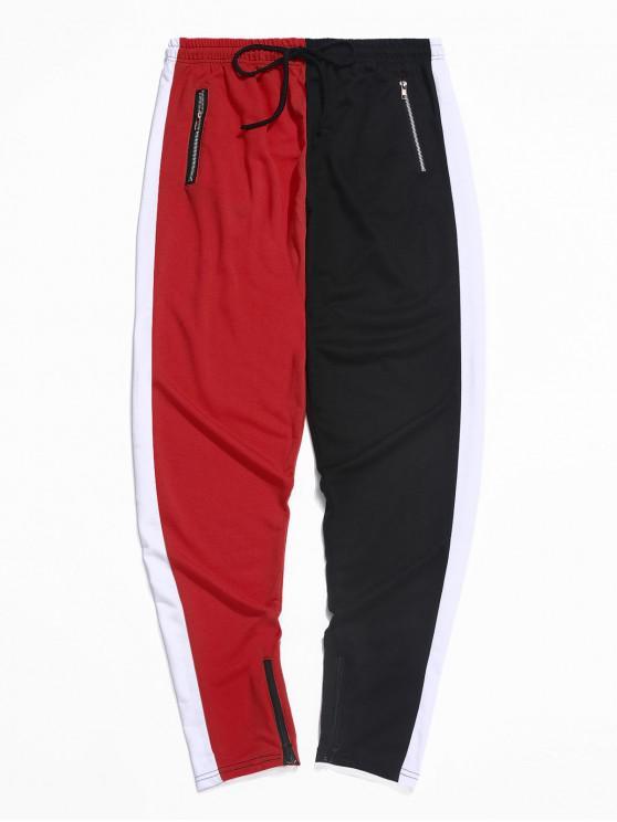 PantalonesdebloqueodeColorEmpalmadoconCremallerayCordón - Rojo S