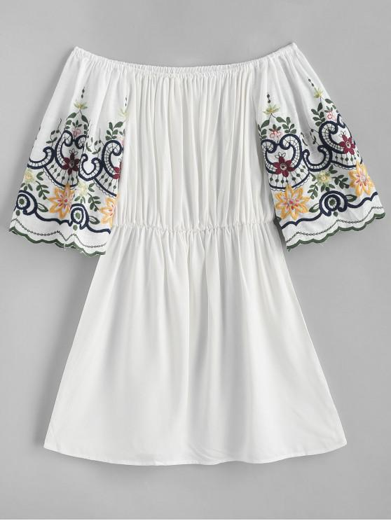 chic Off Shoulder Floral Embroidered Scalloped Dress - WHITE L