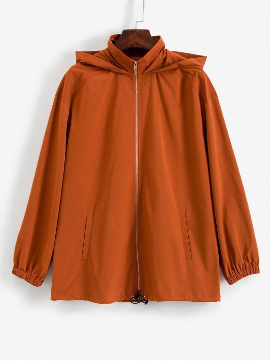 lady ZAFUL Zip Up Solid Hooded Windbreaker Jacket - ORANGE SALMON S