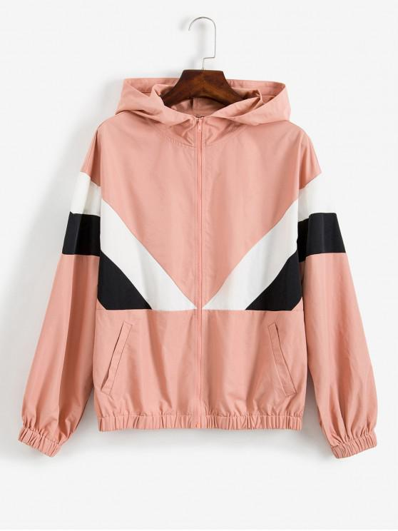 shops ZAFUL Colorblock Zip Hooded Jacket - MULTI-A S
