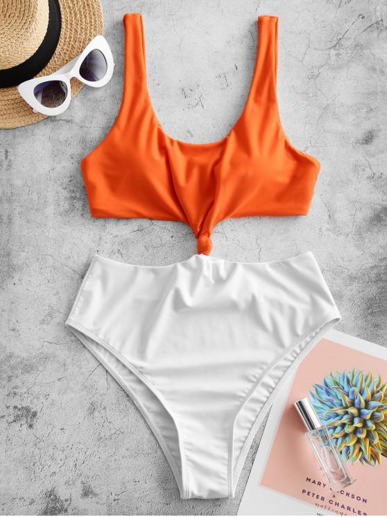 shop ZAFUL Colorblock Knotted Monokini Swimsuit - MANGO ORANGE M