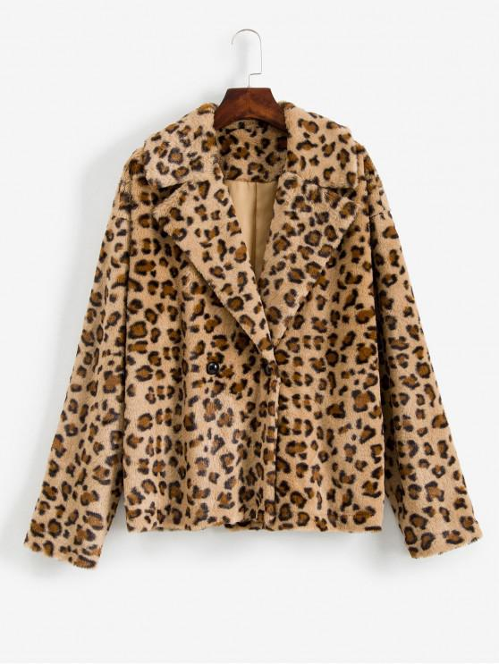 unique ZAFUL Leopard Print Drop Shoulder Fuzzy Teddy Coat - MULTI L
