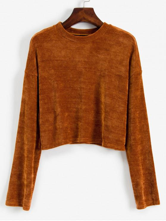 fancy ZAFUL Corduroy Cropped Sweater - CHESTNUT L