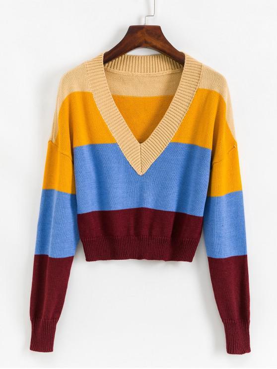 affordable ZAFUL Drop Shoulder Colorblock Stripes V Neck Sweater - MULTI-A S