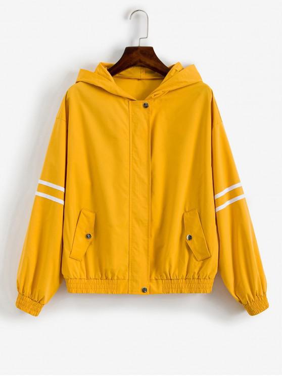 women ZAFUL Striped Patched Zip Up Hooded Windbreaker Jacket - BEE YELLOW S