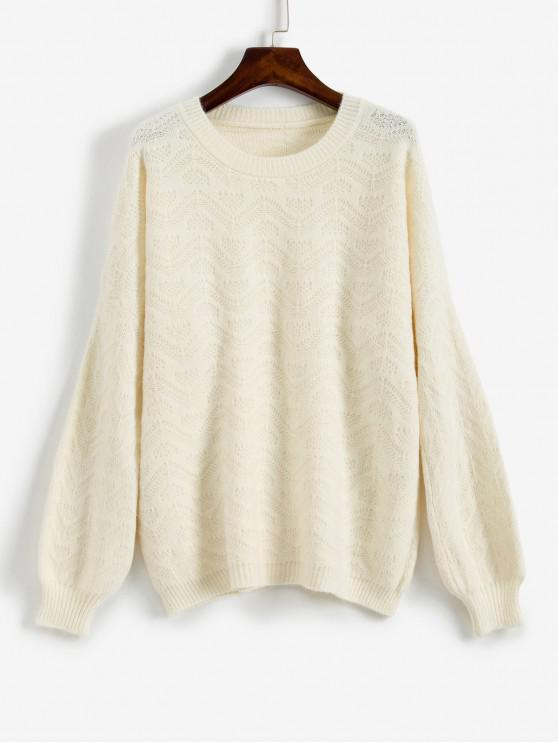 fancy ZAFUL Loose Fit Drop Shoulder Sweater - WARM WHITE M