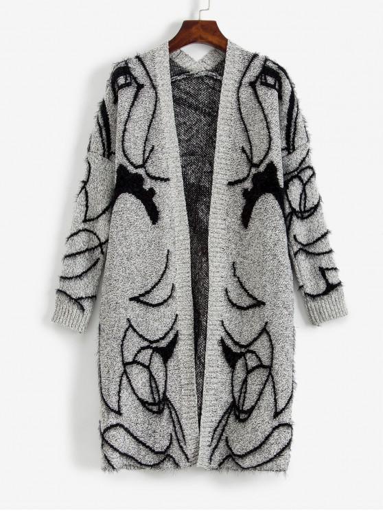 ladies ZAFUL Faux Fur Abstract Cardigan - MULTI M