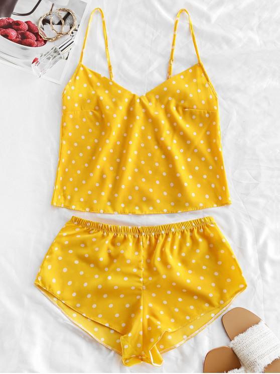 outfits Polka Dot Cami Pajama Set - YELLOW L