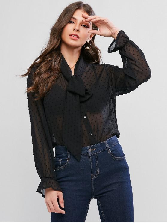 Blusa transparente atado con gasa con volantes y puntilla suiza ZAFUL - Negro XL