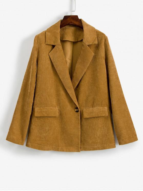 lady ZAFUL One Button Flap Pockets Corduroy Blazer - LIGHT BROWN L