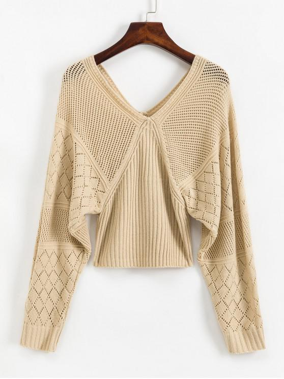ladies V Back OpenworkLantern Sleeves Sweater - APRICOT M