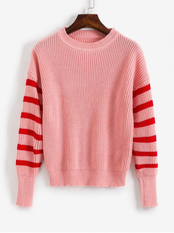 lady Striped Cable Knit Sweater - ROSE M
